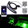 Car Interior Colorful 12 LED Footwell Floor Neon Flexible Atmosphere Light Strip Phone App Music Control Fit for IOS and Android
