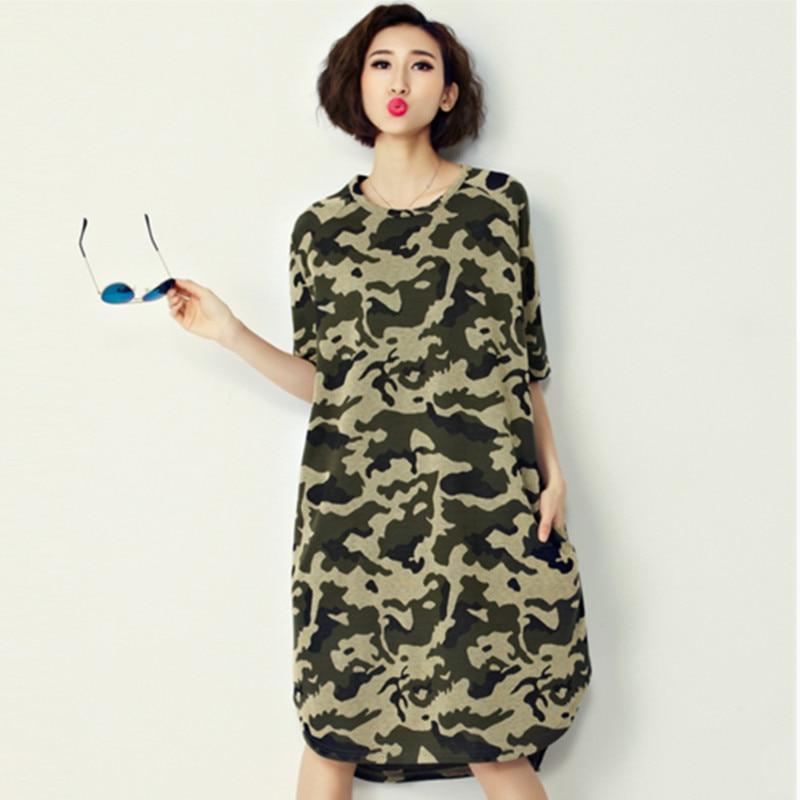 New Women Spring Summer Camo Loose Plus Size Dress European Style
