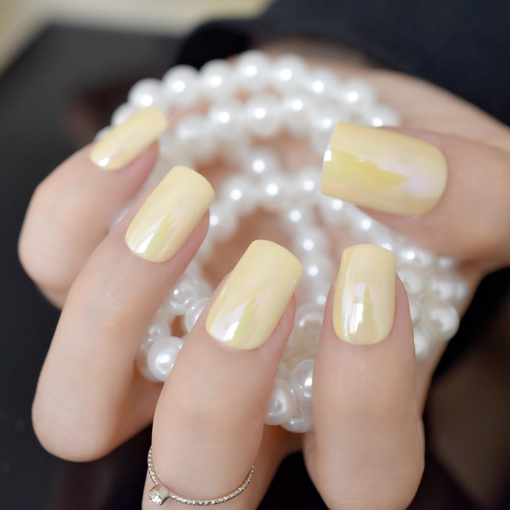 Symphony Yellow Artificial Nail Tips Mirror Design Medium Flat Fake ...