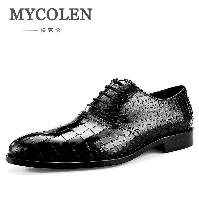 MYCOLEN nouveaux hommes modernes chaussures Oxford formelles en cuir véritable chaussures imprimé Crocodile chaussures de luxe à lacets d'affaires Banquet homme chaussures