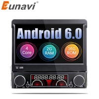 Euanvi Quad Core 2G RAM 1 Din Android 6.0 Car DVD Player Radio Stereo Universal with GPS Navi Bluetooth Multimedia System 4G