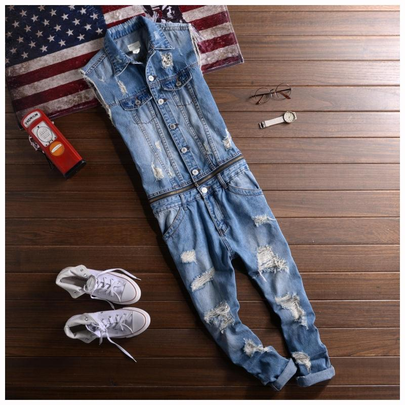 2016 New Men's denim overalls Men Casual 9 pants jeans Jumpsuits for Men with Holes MB16278 nine length pants male suspenders 2016 new casual denim overalls blue ripped jeans pockets men s bib jeans boyfriend jeans jumpsuits