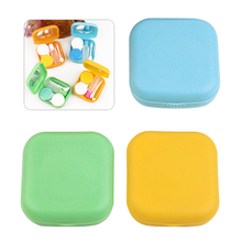 Popular Mini Square Contact Lens Case Box Travel Kit Easy Carry Mirror Container Free Shipping estuche lentes de contacto