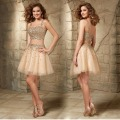 Short Two Piece Golden Prom Dresses Sequins Cover Homecoming Dresses Square Neck Sleeveless A Line Tulle Cocktail Party Gowns
