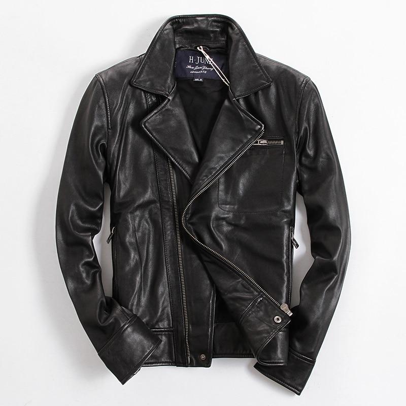 2017 font b Men b font Genuine Leather Motorcycle font b Jacket b font Black Diagonal