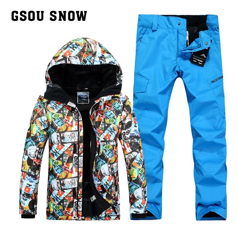 Combinaison de ski GSOU SNOW pour homme colorée pour garder au chaud imperméable