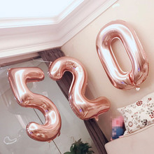 1pc New 16 32 40 Inch Number Balloons Birthday Party Wedding Stage Decoration Rose Gold Aluminium Foil Kids Inflatable Toys
