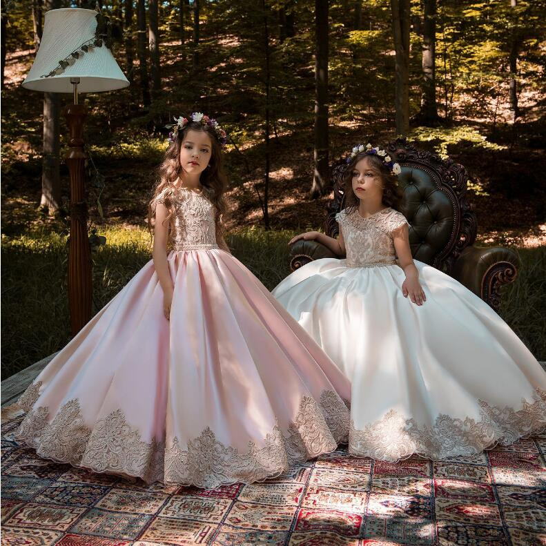 Girl Princess Wedding Dress Girls Party Lace Pink White Dress Kids Ball Gown Kids Birthday  Clothes  for 2-13 year girl Show