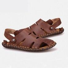 Neue Ankunft Weiches Leder Strand Sandalen für Männer, Handgemachte Echtes Leder Sommerschuhe Männlich, 2016 Nähen Classics Hausschuhe für Männer