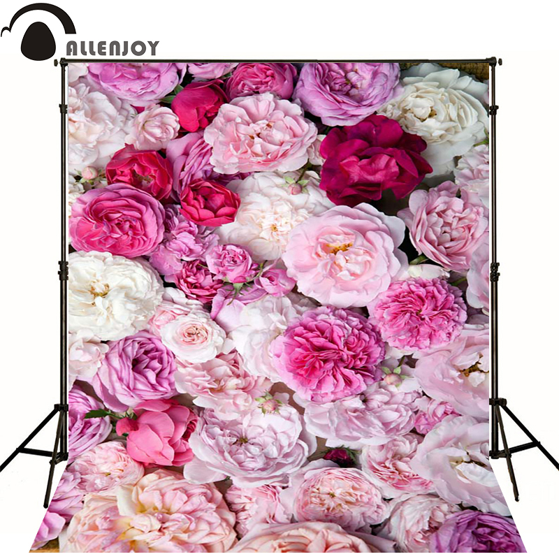 Allenjoy Photographic spring background baby shower pink flower backgrounds peony newborn vinyl backdrops photocall send folded