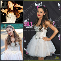 Sparkly Ariana Grande Celebrity Dresses To Party Full Sexy Ball Gown Mini Short White Prom Dresses