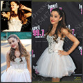 Sparkly Ariana Grande Celebrity Dresses To Party Full Sexy Ball Gown Mini Short White Prom Dresses 2016 Crystal Beaded Spaghetti
