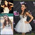 Sparkly Ariana grande vestido de Bola Mini Short Celebrity Vestidos de Fiesta Lleno Sexy Blanco Vestidos de Baile 2016 Crystal Beaded Spaghetti
