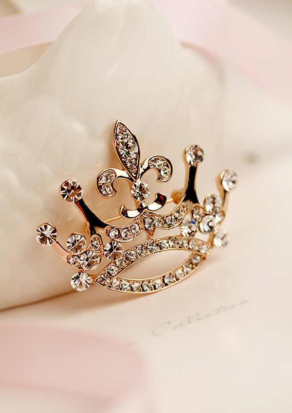 Di Colore dell'oro di cristallo nota musicale spilla di alta qualità retro di grandi dimensioni in oro Corona spilla zircone pin per le donne