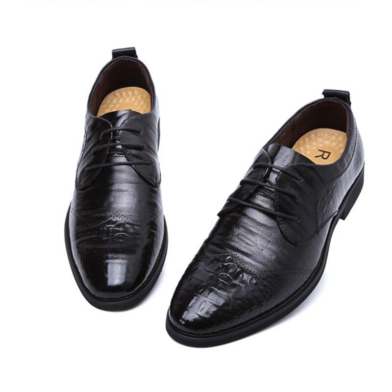 Homens Oxfords Couro Vestido Zapatos Hombre Verão Dos Crocodilo Lace up De Preto Negócios Sapatos 44 38 Padrão Apontou xznf0nCqv