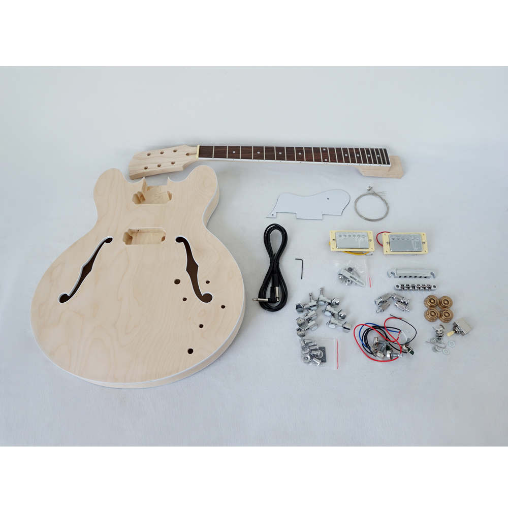 цена на China Aiersi Unfinished DIY AJ335 Jazz Electric Guitar Kits With All Hardwares EK-011