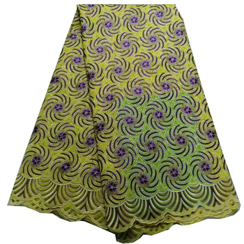 (5yards/pc) wonderful embroidered African dry cotton lace fabric yellow and purple Swiss voile lace fabric for dress CLS226