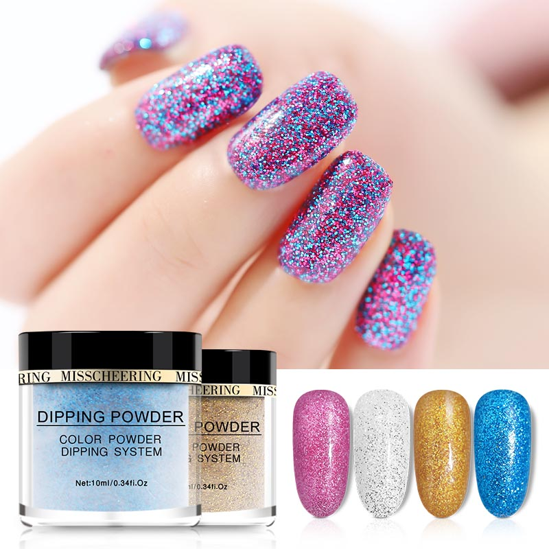 MANZILIN 10g/Bottle Nail Glitter Colorful Dipping Powder Shining Dust Decoration NHDPC