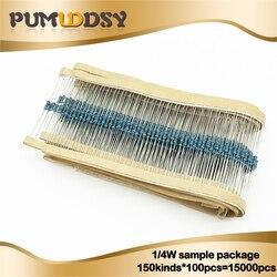 150 tipos * 100 Uds = 15000 Uds 1/4W resistencia 1% Paquete de resistencias de película metálica Kit surtido 1R-1 M 4.7R 10R 47R 1K 6,8 K 47K 91K resistencias