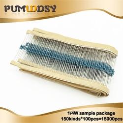 150kinds * 100pcs = 15000pcs 1/4W Resistenza 1% Metallo Film Resistor Pacchetto Assortiti Kit 1R -1 M 4.7R 10R 47R 1K 6.8K 47K 91K Resistenze