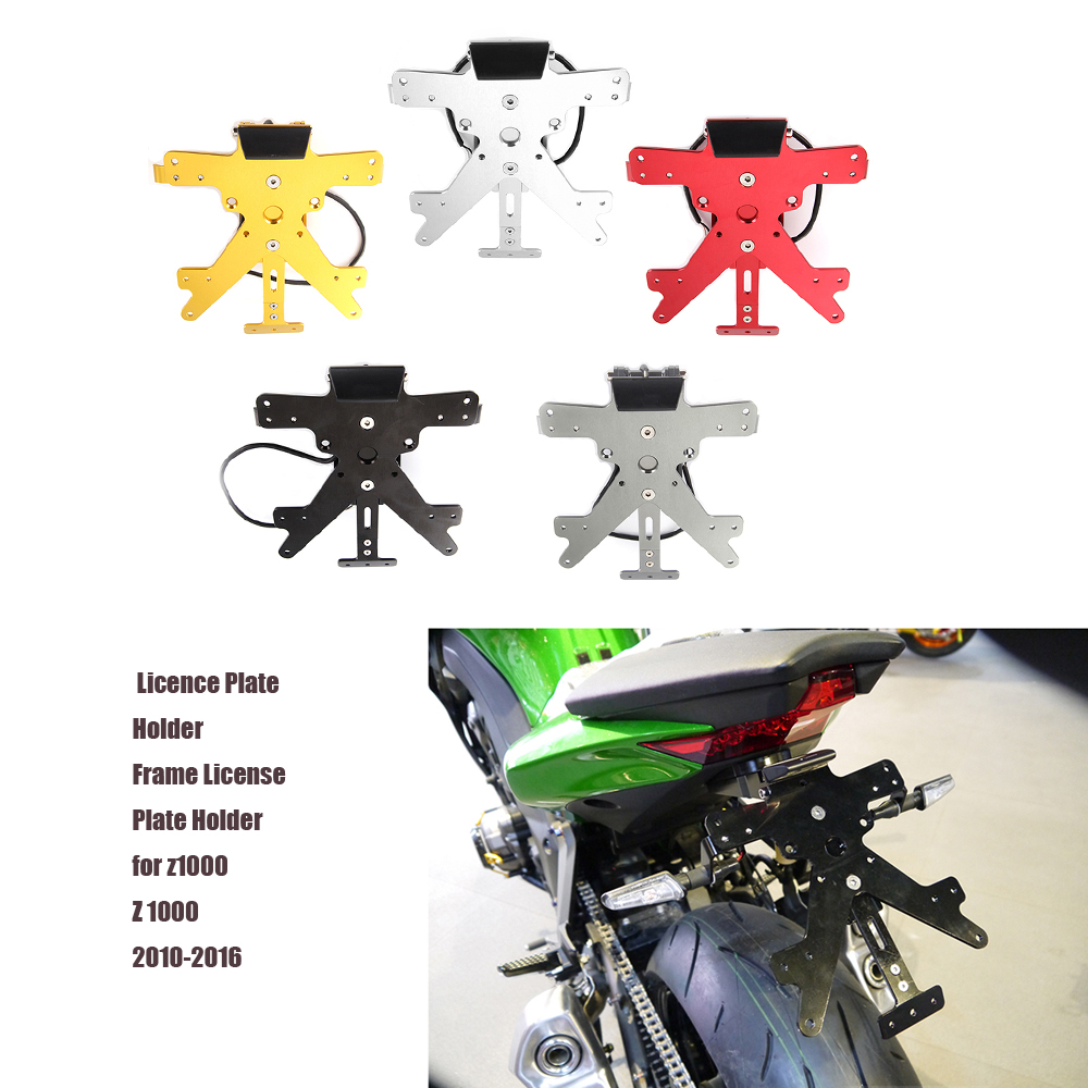 Motorcycle CNC Aluminium Adjustable License Plate Mount Holder Bracket With LED Light For Kawasaki z1000 Z 1000 2010-16 5 colors cnc aluminum motorcycle rear license plate mount holder with led light for kawasaki ninja zx6 zx6r zx7r zx9r zx12r zx14r zx500r