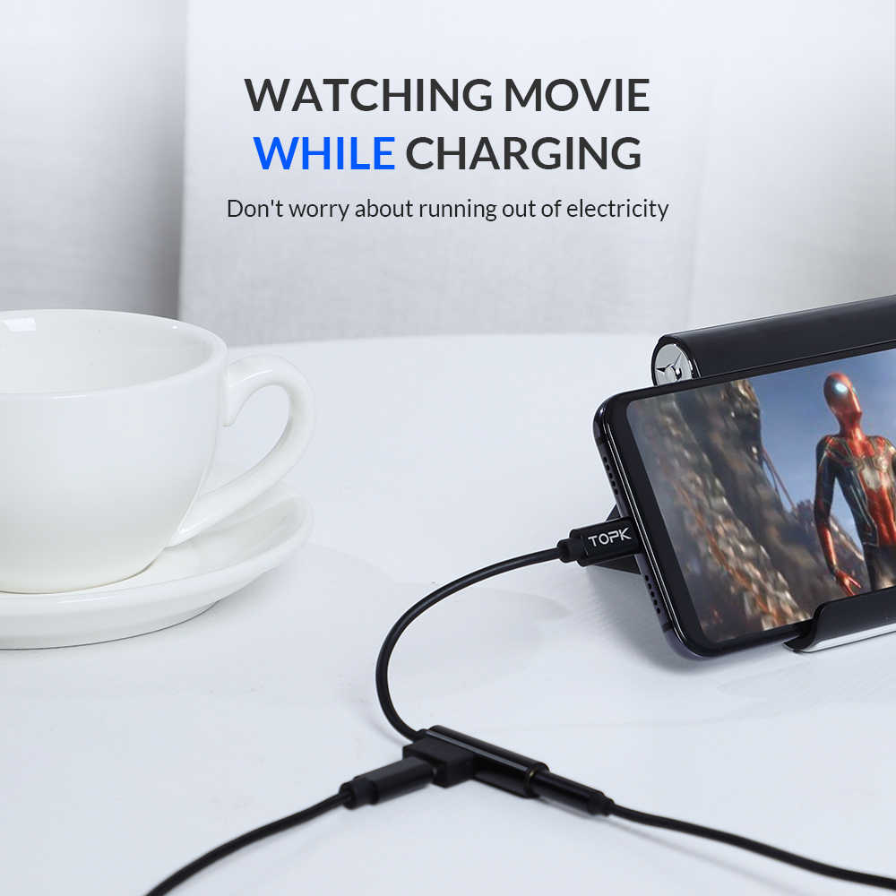 TOPK Type C 3.5 Jack Earphone Adapter USB C Male to 3.5mm Female for Samsung S8 S9 Huawei Mate 20 Xiaomi Redmi Note 7