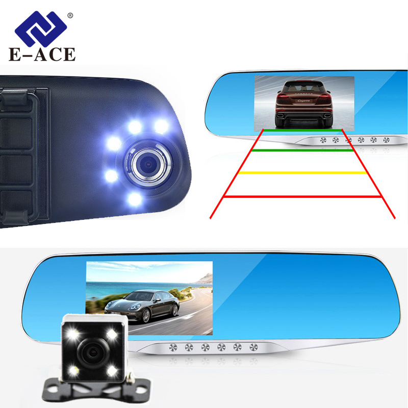 E ACE Car Dvr Camera Led Lights Blue Rearview Mirror FHD 1080P Night Vision Video Recorder Dual Lens Auto Registrator Dash Cam