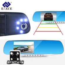 Câmera Dvr Carro Luzes Led Azul Espelho Retrovisor FHD E-ACE 1080 P Night Vision Video Recorder Dual Lens Auto Registrator Traço Cam