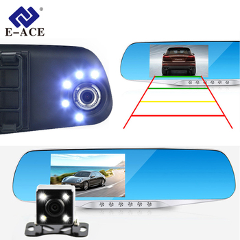 Buy E-ACE Car Dvr Camera Led Lights Blue Rearview Mirror FHD 1080P Night Vision Video Recorder Dual Lens Auto Registrator Dash Cam