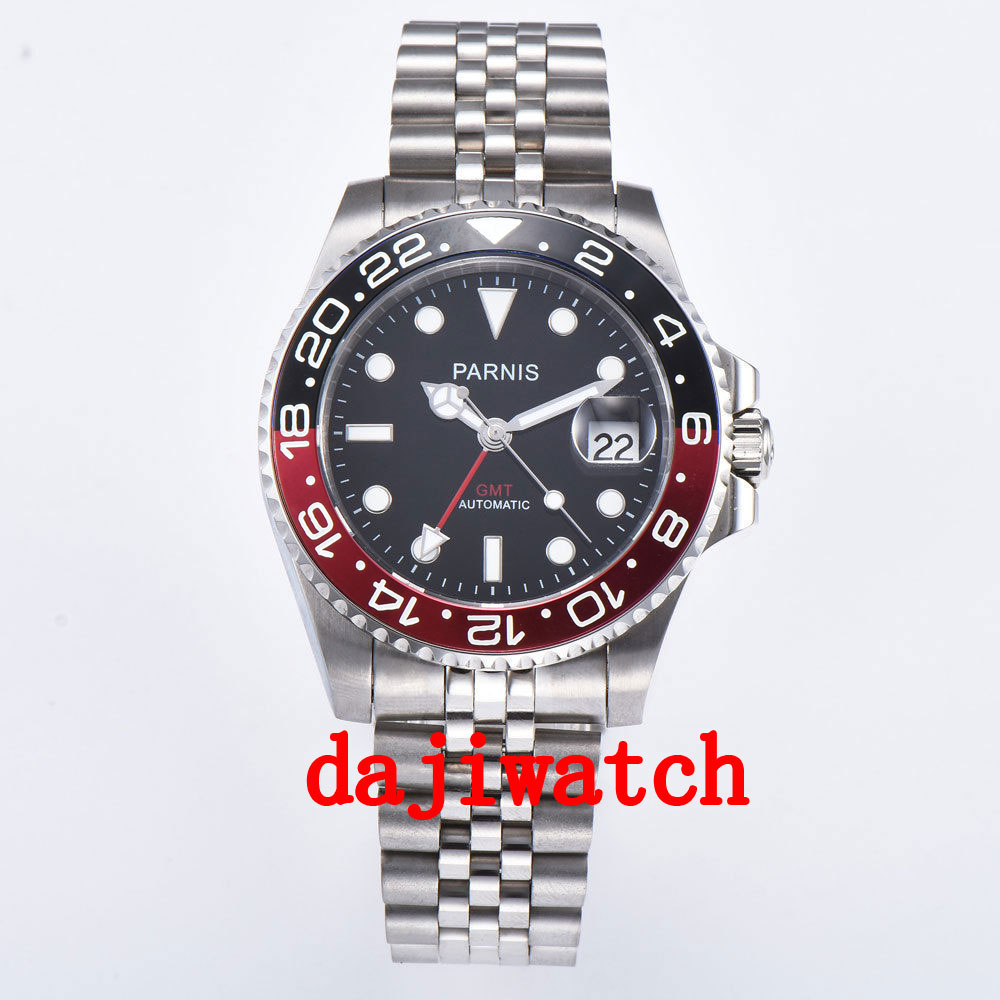 40mm PARNIS black dial black/red bezel Sapphire crystal date GMT automatic mens watch Mechanical watches