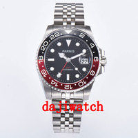 40mm PARNIS black dial black\/red bezel Sapphire crystal date GMT automatic mens watch Mechanical watches
