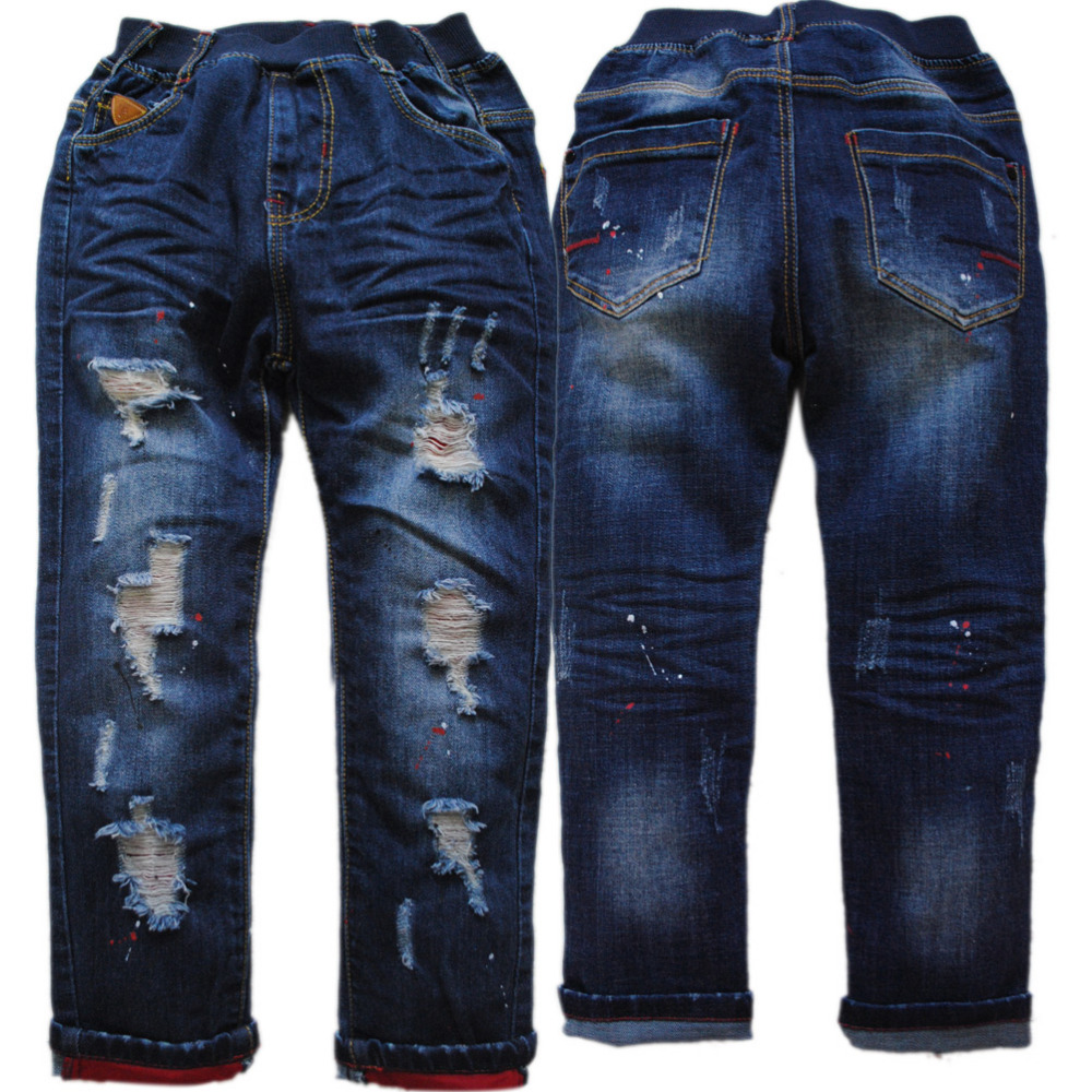 Jeans Boys Clothing Navy-Blue Kids Children's Pants Autumn Regular Spring 120-165cm-Height-Hole title=