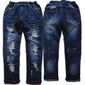 3988 120-165 cm de altura buraco jeans calças meninos primavera outono meninos denim calças de brim calças crianças azul marinho regular roupas para crianças