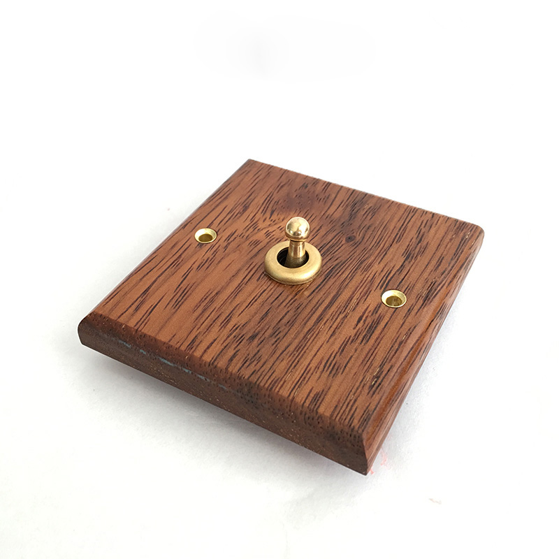 Retro switch socket switch panel hand made of solid wood brass lever open double control American Continental 6A 110V- 250V цена
