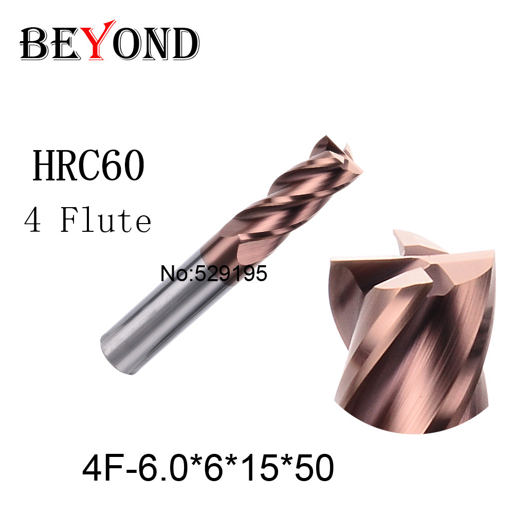 4f-6.0*6*15*50,hrc60,material Carbide Square Flatted End Mill four 4 flute 6mm coating nano use for High-speed milling machine цены