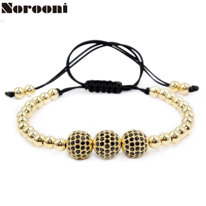 Norooni Men Bracelets Gold Color Beads& Micro Pave Black CZ Beads Hot Sale Briading Macrame Bracelet Women Men Jewelry