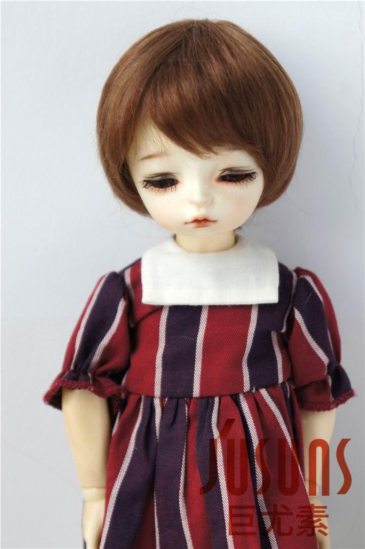 JD293 1/8 1/6 Мода из мягкого мохера BJD парики Милая Короткая раскроенная кукла волосы Размер 5-6 дюймов 6-7 дюймов кукла аксессуары - Цвет: 6-7inch Light brown