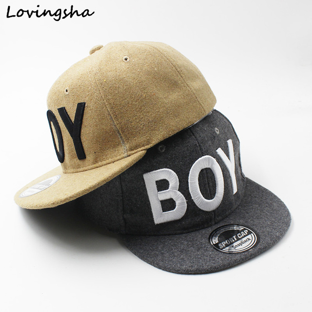 "LOVINGSHA Boy Baseball Caps 3-8 Years Old Kid Snapback Caps Letter ""BOY"" Design High Quality Adjustable caps For Girl CC080"