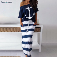 Women Two Piece Sets Boat Anchor Print T Shirt & Striped Skirt Sets Ankle Length Fashion Street Wear Casual Maxi Striped Skirts