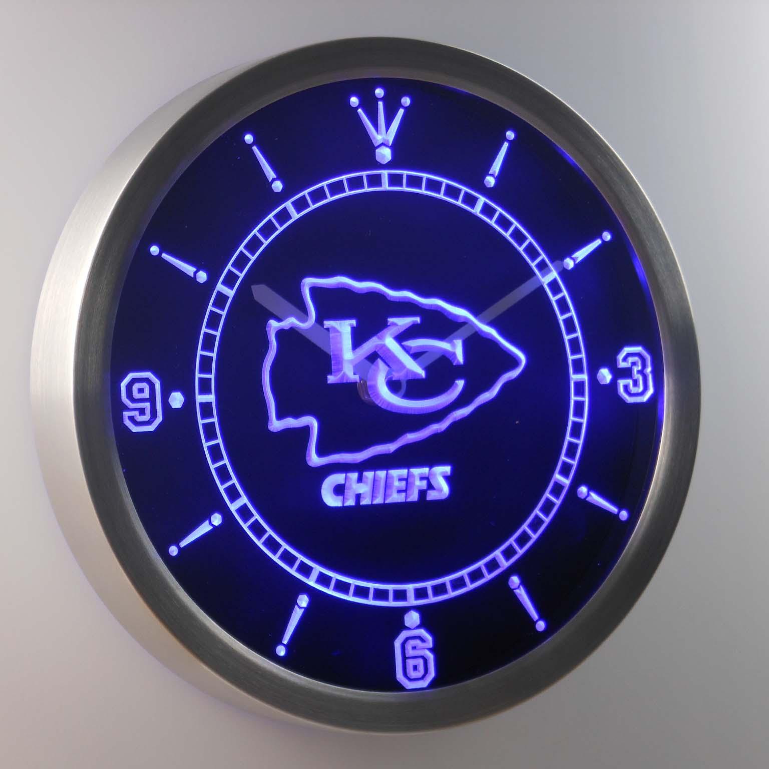 Kansas City Chiefs Neon Sign Led Wall Clock