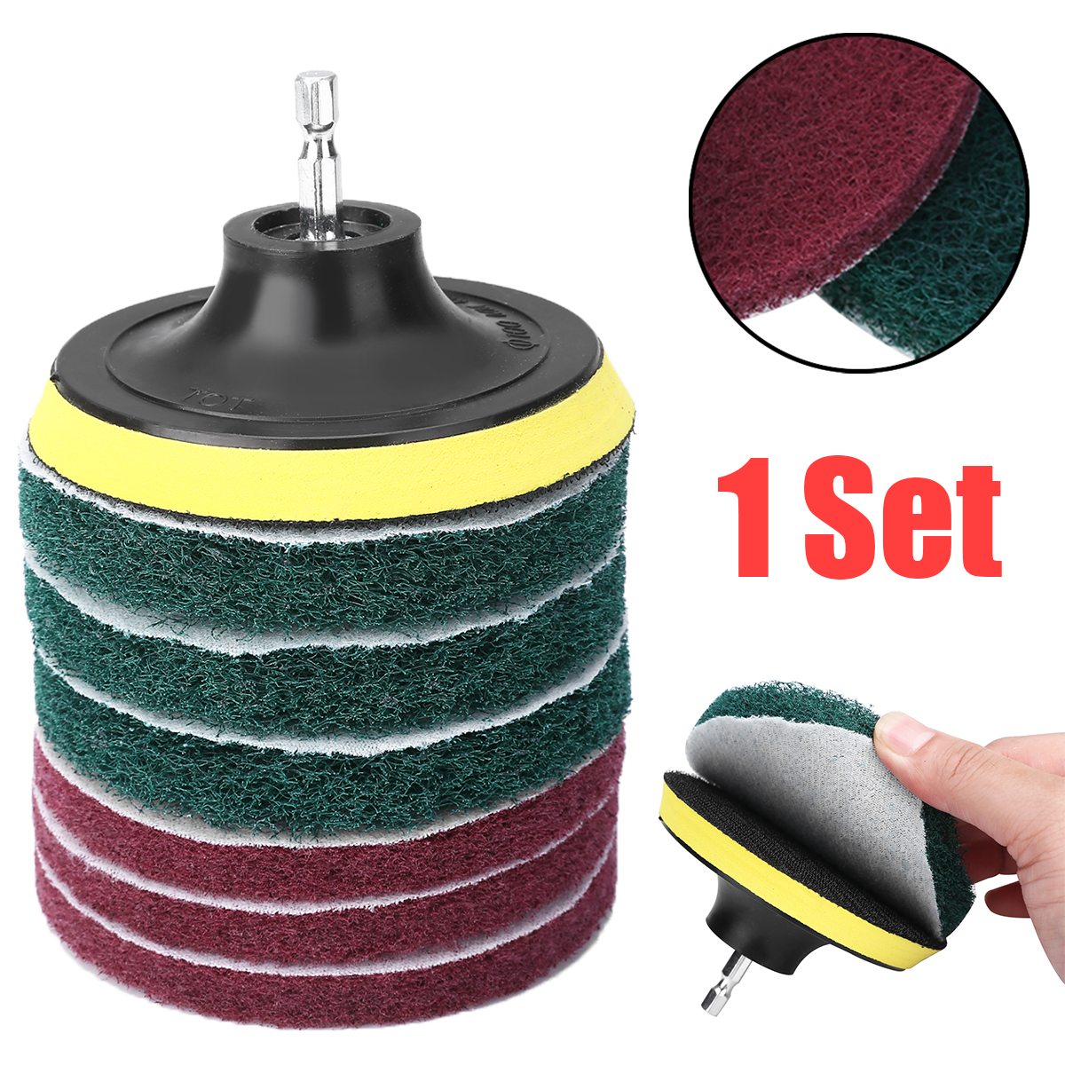 1set Drill Scouring Pads 6.35mm Hex Rod 4 Inch Sticky Disk Cleaner Sanding Drill Attachment For Tiles Sinks Bathtub Cleaning Kit