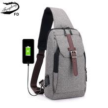 3885014353c FengDong jongens kleine een schouder usb charge bag mannen mini messenger  bags mannelijke waterdichte sling borst bag crossbody .