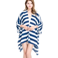 Newly Summer Women Cardigan Sexy Bikini Swimsuit Cover Up Striped Chiffon Bathing Suit Ladies Beach Coverup