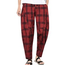 Feitong new Men's Pants Fashion Summer Casual Plaid Drawstring Cotton Linen Long Pants Clothes 2019 Male Trousers Streetwear