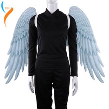 2019 High Quality Pu Foam Soft Engelenvleugels Kids Adult Women Cosplay Costume Black and White Asas De Anjo Alas Angel Wings