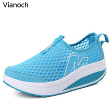 Height Increasing Summer Mesh Shoes Womens Casual Fashion Platform Women Breathable aa0030