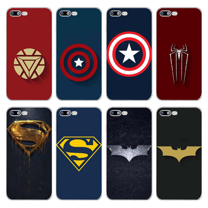 Marvel Iron Man กัปตันอเมริกา Batman Superman Spiderman Soft ซิลิคอน TPU Case สำหรับ iPhone 7 6 6s 8 plus 5s SE X Xs MaX Xr