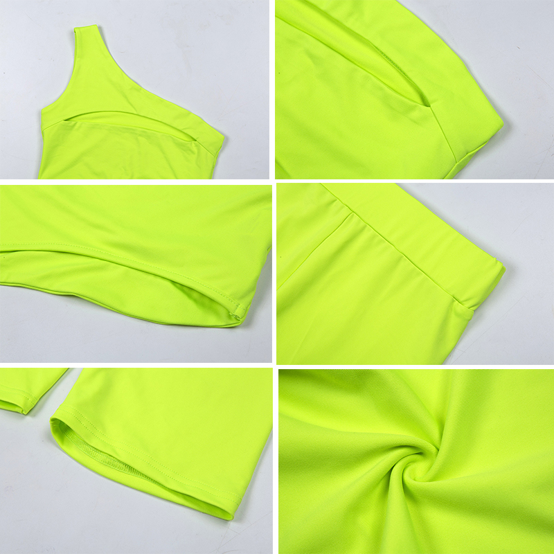 Simenual Neon Color Women Two Piece Set One Shoulder Casual Tracksuits Cut Out Crop Top And Biker Shorts Sets Sporty Active Wear 7