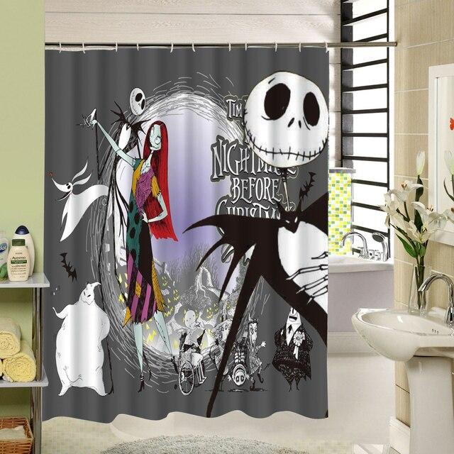 waterproof 3d halloween shower curtain nightmare before christmas ghost skeleton castle style bath curtains bathroom accessories - Nightmare Before Christmas Bathroom