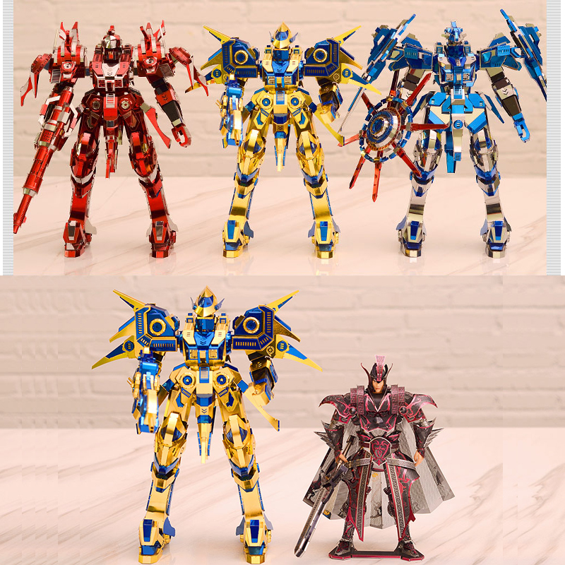 Piececool 3D Metal Puzzle Red Thunder Edition Knight Armor Model Kits P085-RSK DIY 3D Laser Cut Assemble Jigsaw Toys